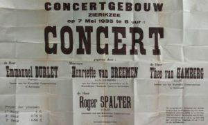 Aankondiging van een concert in het concertgebouw van Zierikzee, 7-5-1935. Collectie J.A. Spalter.