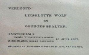 Verlovingskaartje Georges en Lieselotte.