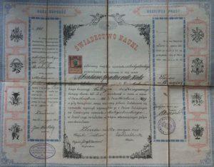 Diploma Boekbinderij op 12-5-1903 uitgereikt aan Abraham Spalter. Collectie J.A. Spalter.