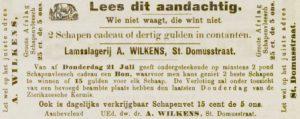 Abraham deed op slagersgebied goed van zich horen, getuige de vele advertenties om de aandacht te vestigen op de slagerij in de Sint Domusstraat. Zierikzeesche Nieuwsbode 19-7-1904.
