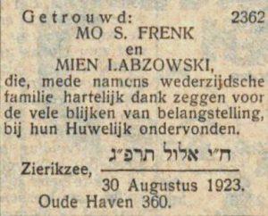 Nieuw Israëlitisch Weekblad 31-8-1923.